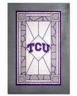 Texas Christian Horned Frogs Stained Glass with Frame