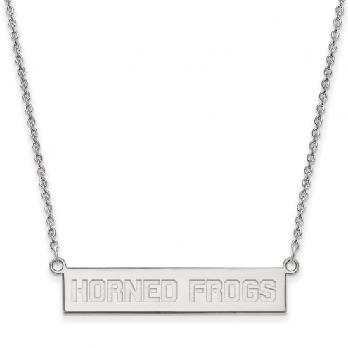 Texas Christian Horned Frogs Sterling Silver Bar Necklace