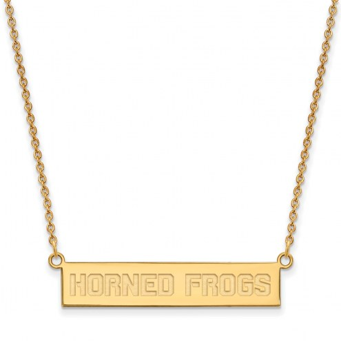 Texas Christian Horned Frogs Sterling Silver Gold Plated Bar Necklace