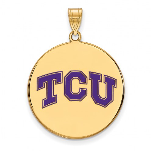 Texas Christian Horned Frogs Sterling Silver Gold Plated Extra Large Pendant
