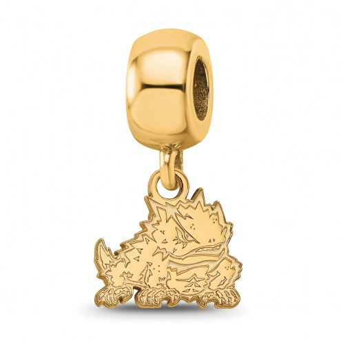 Texas Christian Horned Frogs Sterling Silver Gold Plated Extra Small Dangle Bead