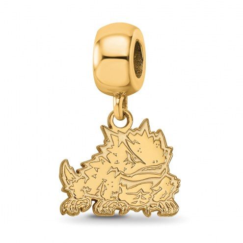Texas Christian Horned Frogs Sterling Silver Gold Plated Small Dangle Bead