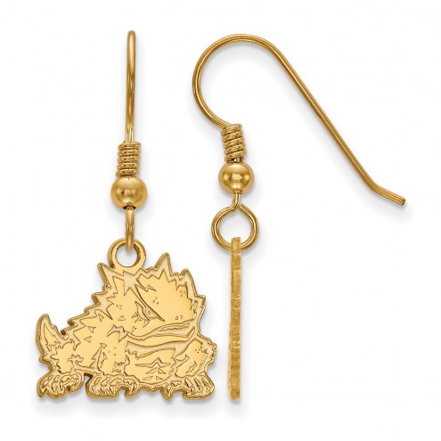 Texas Christian Horned Frogs Sterling Silver Gold Plated Small Dangle Earrings