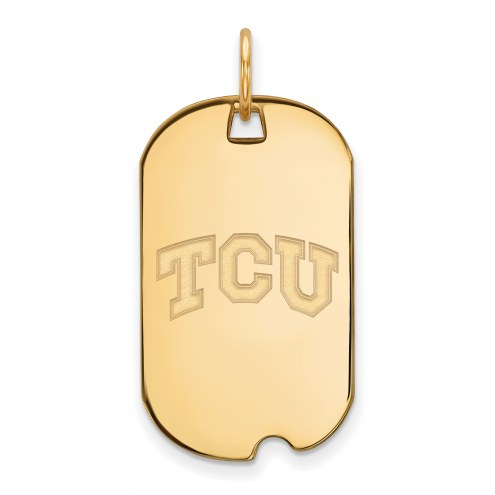 Texas Christian Horned Frogs Sterling Silver Gold Plated Small Dog Tag Pendant