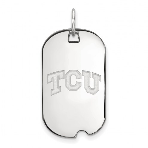 Texas Christian Horned Frogs Sterling Silver Small Dog Tag Pendant