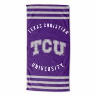 Texas Christian Horned Frogs Stripes Beach Towel