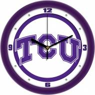 Texas Christian Horned Frogs Traditional Wall Clock