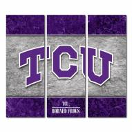 Texas Christian Horned Frogs Triptych Double Border Canvas Wall Art