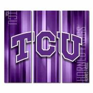 Texas Christian Horned Frogs Triptych Rush Canvas Wall Art