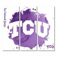 Texas Christian Horned Frogs Triptych Watercolor Canvas Wall Art