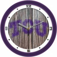 Texas Christian Horned Frogs Weathered Wood Wall Clock