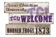 Texas Christian Horned Frogs Welcome 3 Plank Sign