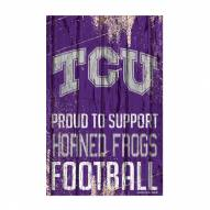 Texas Christian Horned Frogs Proud to Support Wood Sign