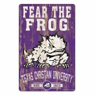 Texas Christian Horned Frogs Slogan Wood Sign