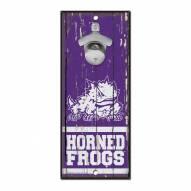 Texas Christian Horned Frogs Wood Bottle Opener