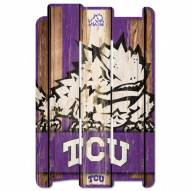 Texas Christian Horned Frogs Wood Fence Sign