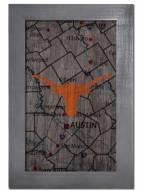 "Texas Longhorns 11"" x 19"" City Map Framed Sign"