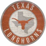 """Texas Longhorns 12"""" Circle with State Sign"""