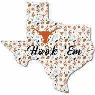"""Texas Longhorns 12"""" Floral State Sign"""