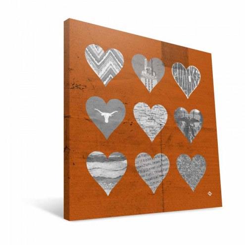 "Texas Longhorns 12"" x 12"" Hearts Canvas Print"