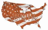 """Texas Longhorns 15"""" USA Flag Cutout Sign"""
