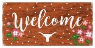 """Texas Longhorns 6"""" x 12"""" Floral Welcome Sign"""