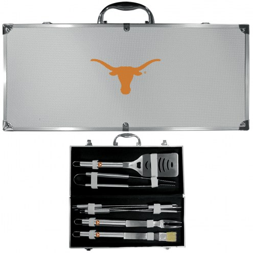 Texas Longhorns 8 Piece Stainless Steel BBQ Set w/Metal Case