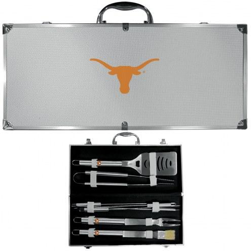 Texas Longhorns 8 Piece Stainless Steel BBQ Set w/Metal Case