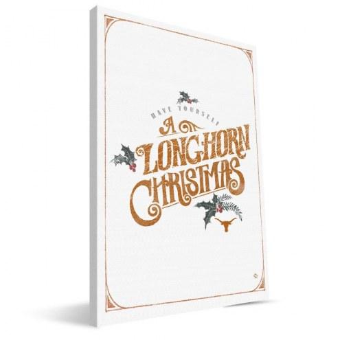 "Texas Longhorns 8"" x 12"" Merry Little Christmas Canvas Print"