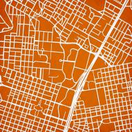 Texas Longhorns Campus Map Print