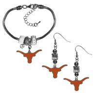 Texas Longhorns Euro Bead Earrings & Bracelet Set