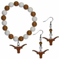 Texas Longhorns Fan Bead Earrings & Bracelet Set
