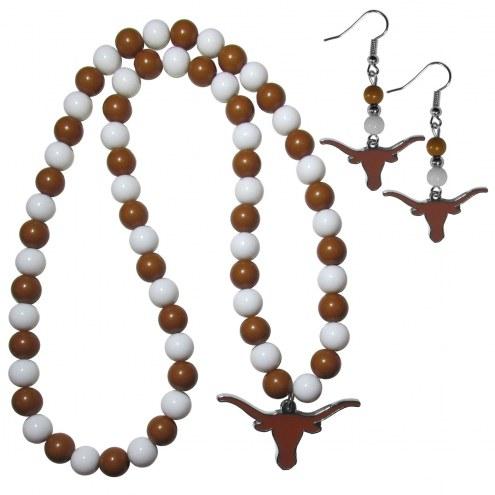 Texas Longhorns Fan Bead Earrings & Necklace Set