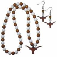 Texas Longhorns Fan Bead Earrings & Necklace Set