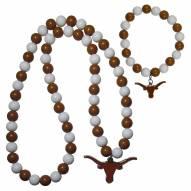 Texas Longhorns Fan Bead Necklace & Bracelet Set