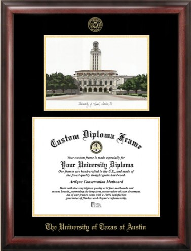 Texas Longhorns Gold Embossed Diploma Frame with Lithograph