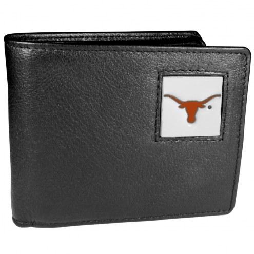 Texas Longhorns Leather Bi-fold Wallet in Gift Box