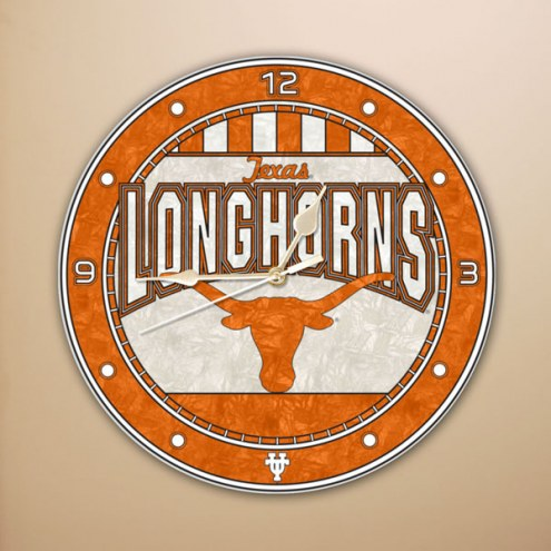 Texas Longhorns NCAA Stained Glass Wall Clock