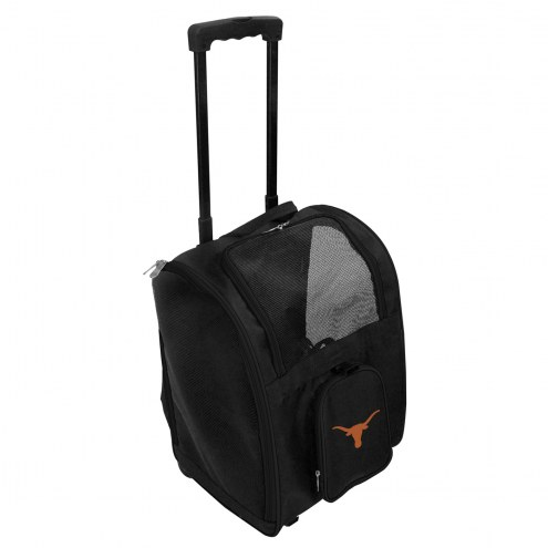 Texas Longhorns Premium Pet Carrier with Wheels