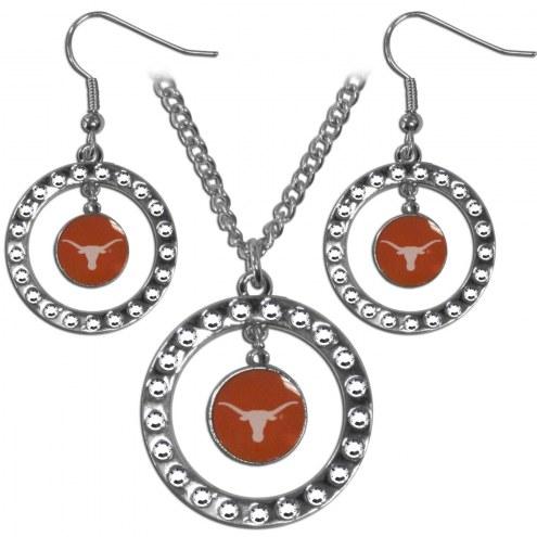Texas Longhorns Rhinestone Hoop Jewelry Set