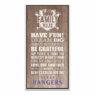 Texas Rangers Family Rules Icon Wood Framed Printed Canvas