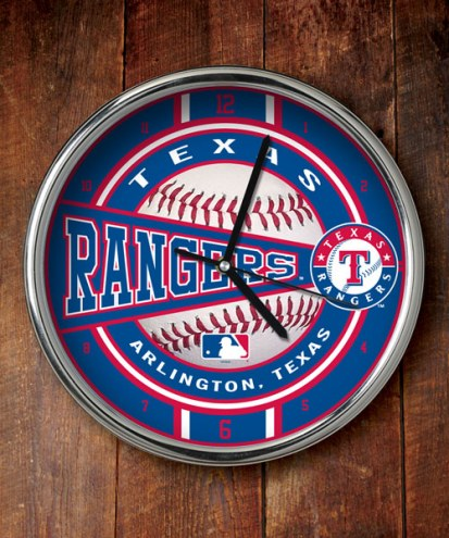 Texas Rangers Chrome Wall Clock