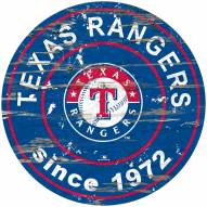 Texas Rangers Distressed Round Sign