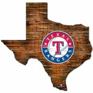 Texas Rangers Distressed State with Logo Sign