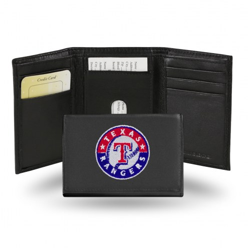 Texas Rangers Embroidered Leather Tri-Fold Wallet