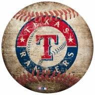 Texas Rangers Baseball Shaped Sign