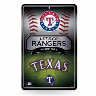 Texas Rangers Large Embossed Metal Wall Sign
