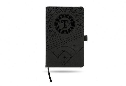 Texas Rangers Laser Engraved Black Notepad