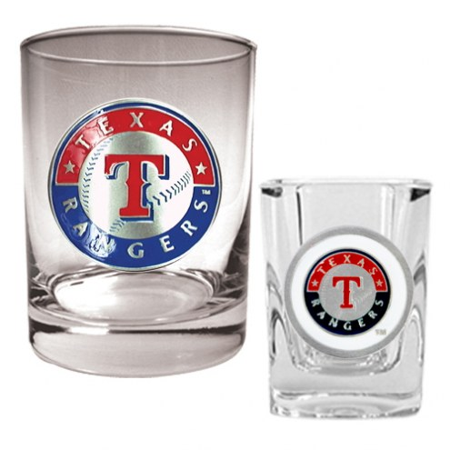 Texas Rangers MLB 14 Oz Rocks Glass & Square Shot Glass 2-Piece Set