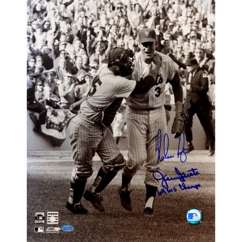 Texas Rangers Nolan Ryan & Jerry Grote Dual Signed 11 x 14 Photo w/ 69 WS Champs